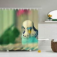 シャワーカーテン カーテン ユニットバス バスルーム 間仕切りにも 防水 カーテンリング付き Budgerigar おしゃれ 綺麗 汚れにくい