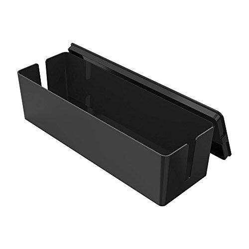 電源 タップ ボックス 電気 コード 収納 パソコン 配線 整理 コンセント 収納 ボックス、テレビ周りとパソコン周りコードなどをちゃんとまとめる収納 ケース。(ブラック)