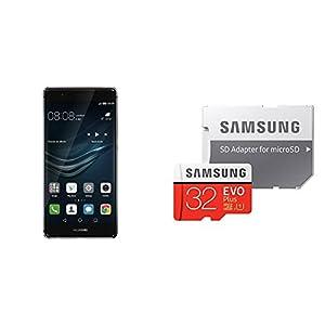 HUAWEI P9 SIMフリースマートフォン (グレー) 【日本正規代理店品】+ Samsung microSDカード 32GB EVO Plusセット