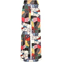 WearAll Women's Patchwork Print Wide Leg Flared Palazzo Elasticated Trousers Ladies Pants 8-14