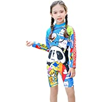 Comfortable Girls Swimwear One-Piece Swimsuit Girl Baby Long-Sleeved Sunscreen Quick-Drying Flat Angle Girl Swimsuit Smooth (Size : M)