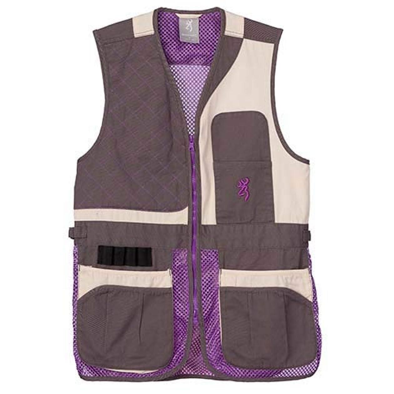 ポインタ縮約BrowningレディースTrapper CreekメッシュShooting vest-cream/Plum/グレー