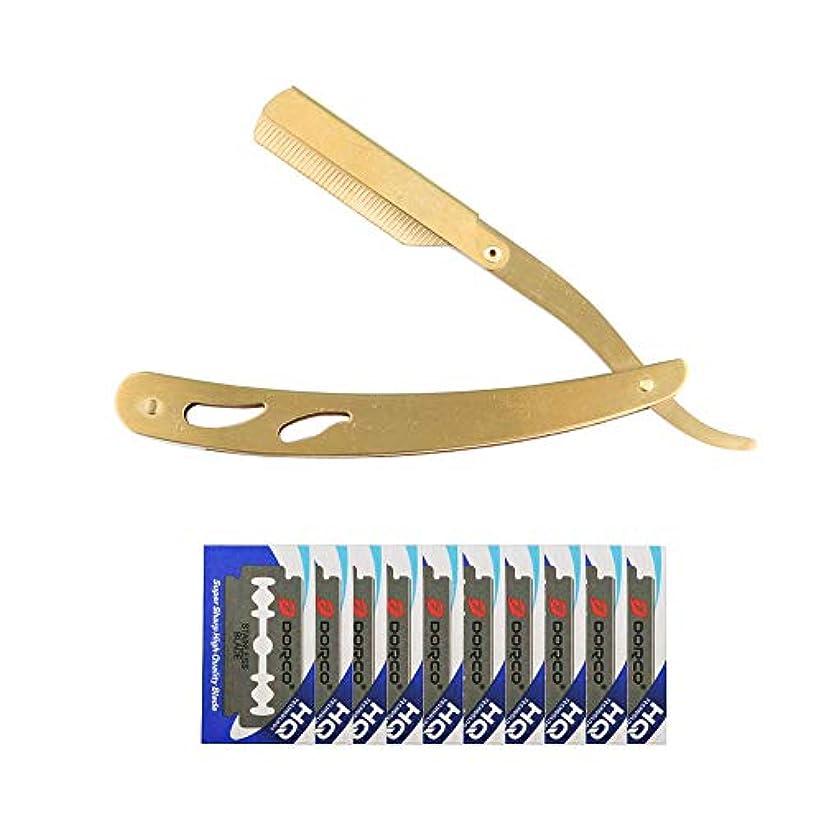 宣言感染する迅速KINYOOO メンズシェービングカミソリ、折り畳かみそり、理容かみそり毛スキ附属 替刃10枚付(分割20枚分)