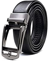 SAVILEMAN ベルト メンズ ビジネス 革 ブランド 紳士 オートロック式 穴なし おおきいサイズ レザー 本革 自動バックル カジュアル (黒)