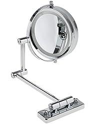 KOZEEY SMDライト 両面ミラー 壁掛け式 5倍拡大鏡 360度回転 エチケットチェック