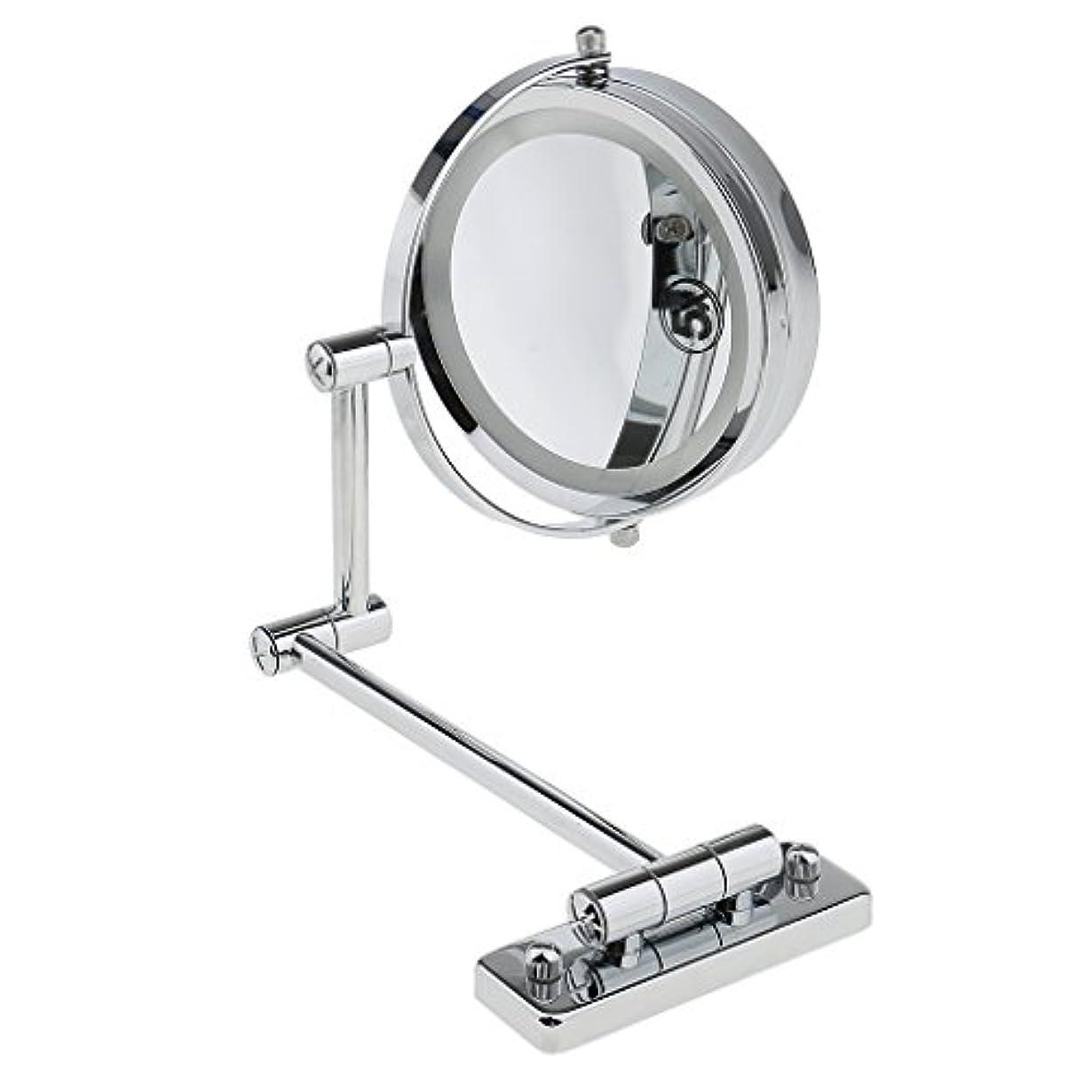 有効化独占平方KOZEEY SMDライト 両面ミラー 壁掛け式 5倍拡大鏡 360度回転 エチケットチェック