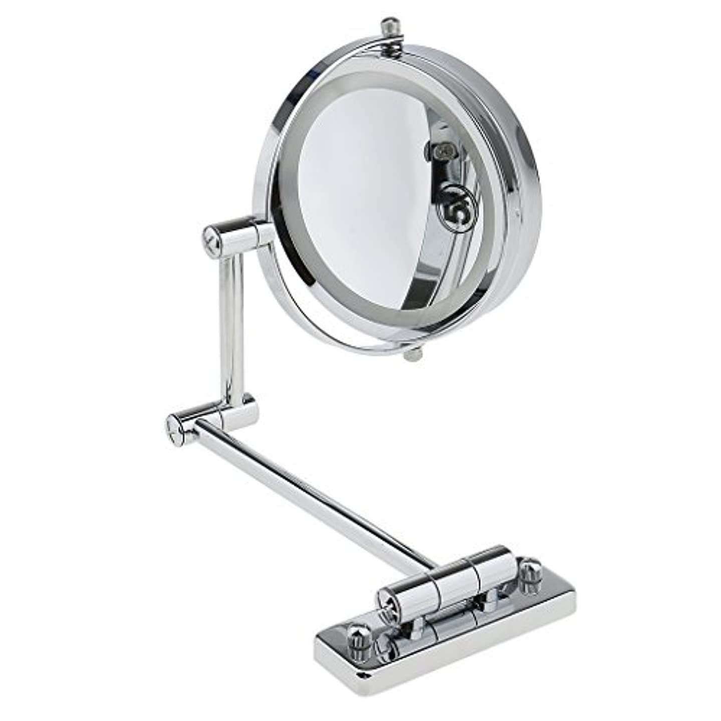 変位食用支援SMDライト 両面ミラー 壁掛け式 5倍拡大鏡 360度回転 エチケットチェック