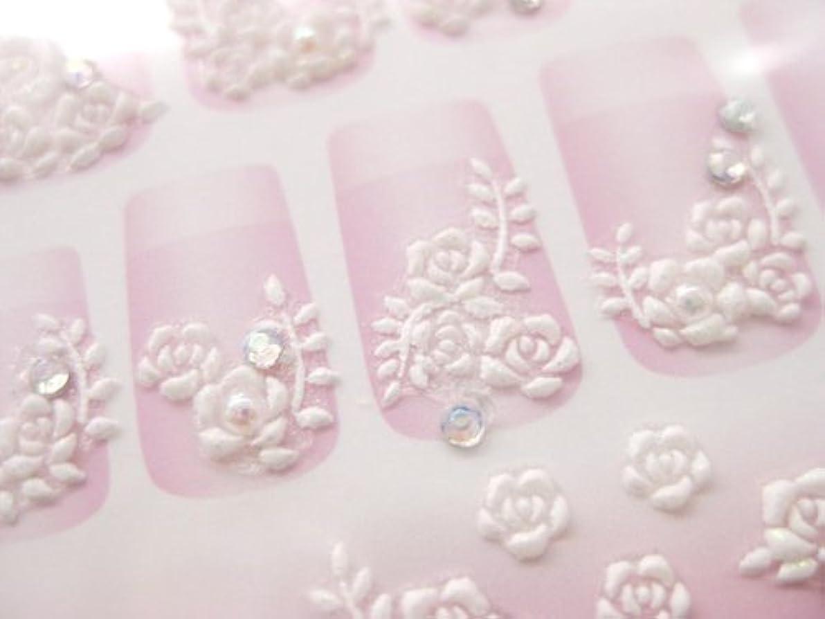 日焼け期待松3Dラバーアート プリンセスネイルシール(バラ ホワイト)