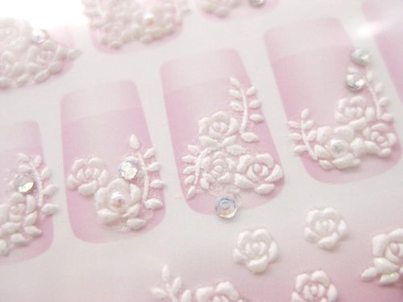 一流委任ブラインド3Dラバーアート プリンセスネイルシール(バラ ホワイト)