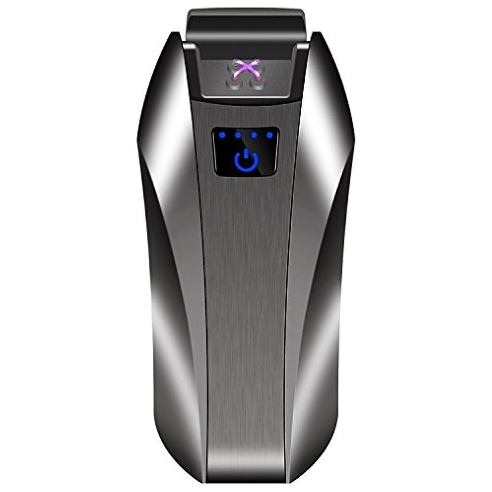 時計事実ゆでる電子ライター USB 充電式 タッチセンサ 指紋式点火 ダブルアークライター ガス オイル 不要/軽量薄型 持ちやすい 無炎 防風 電気アークプラズマライター 誕生日などのプレゼントも最適 (シルバーブラック)