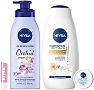 NIVEA Fresh and Fruity Self-Care Kit - 4 Piece Bundle with Body Lotion, Body Wash, Lip Balm, and Multipurpose