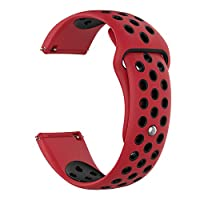 MotivaJP Fitbit Versa Lite/Fitbit Versa スマートウォッチバンド シリコン 腕時計ストラップ 交換ベルト (L,レッド+ブラック)