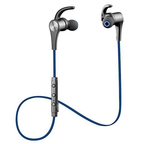〔黒赤2色〕Q12 SoundPEATS サウンドピーツ Bluetooth イヤホン 高音質 apt-X / AAC(iPhone,iPad,iPod)両高音質コーデック対応 低遅延 人間工学設計 マグネット搭載 スポーツ仕様 Bluetooth 4.1 + CSR社チップ採用 IPX4防水 IP4X防塵 マイク付き ハンズフリー通話 CVC6.0ノイズキャンセリング 音漏れ防止機能 ブルートゥース イヤホン ワイヤレス イヤホン Bluetooth ヘッドホン[メーカー直販 / 1年間保証] (ダークブルー)