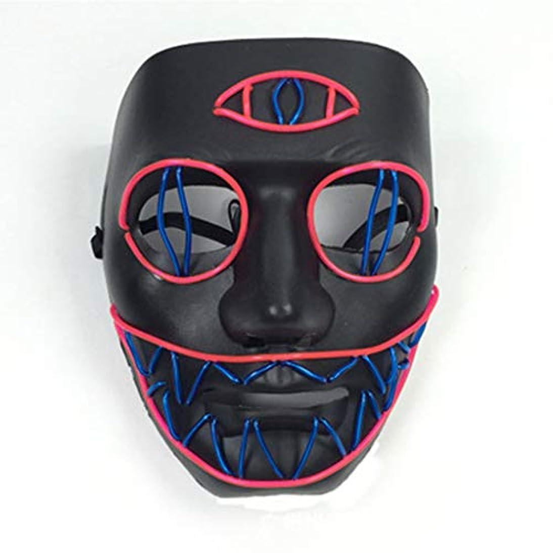首謀者賞賛農民LEDライト怖いマスク、ノベルティハロウィーンコスチュームパーティー不気味な小道具、安全なELワイヤーPVC DJマスクLED