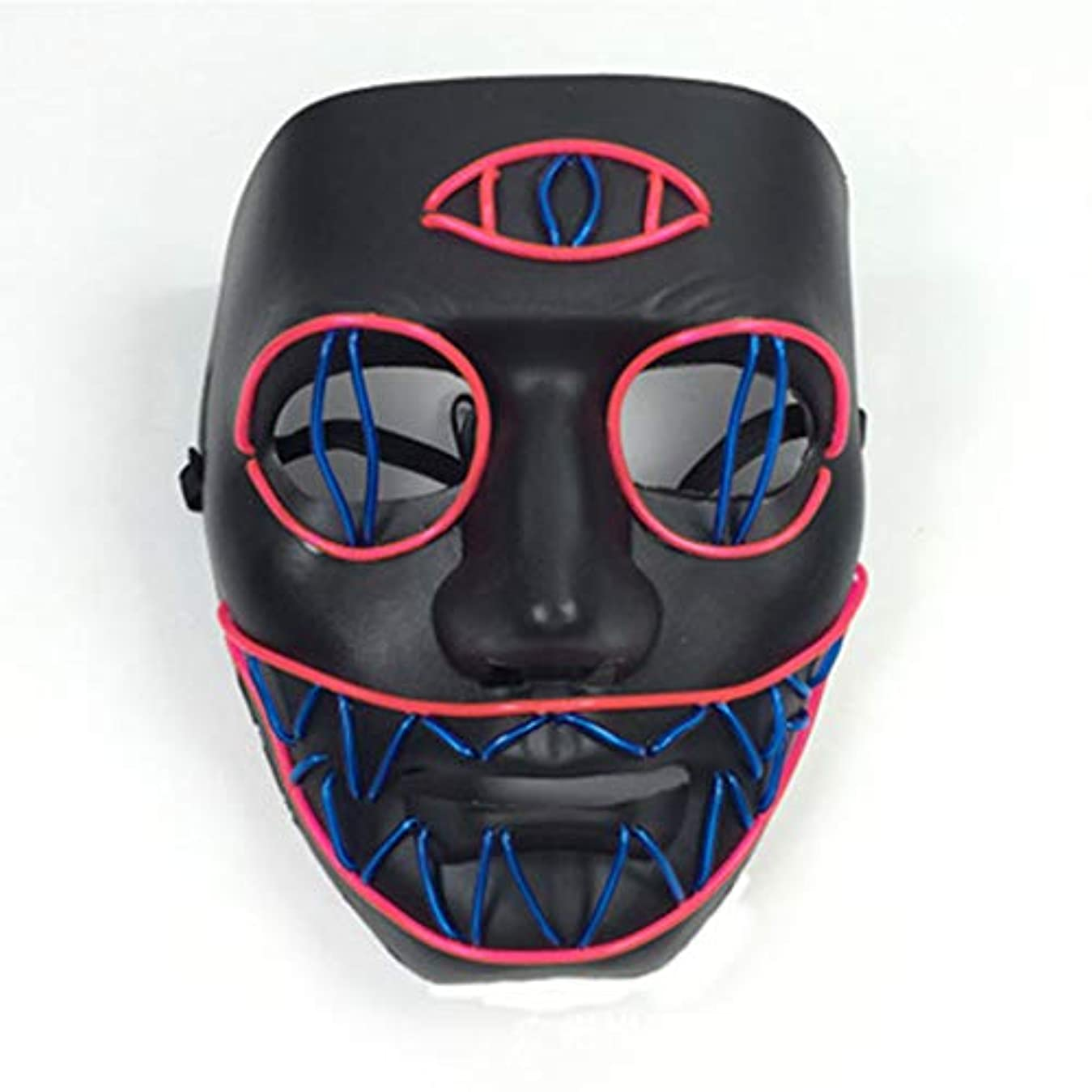 準備警察署観客LEDライト怖いマスク、ノベルティハロウィーンコスチュームパーティー不気味な小道具、安全なELワイヤーPVC DJマスクLED