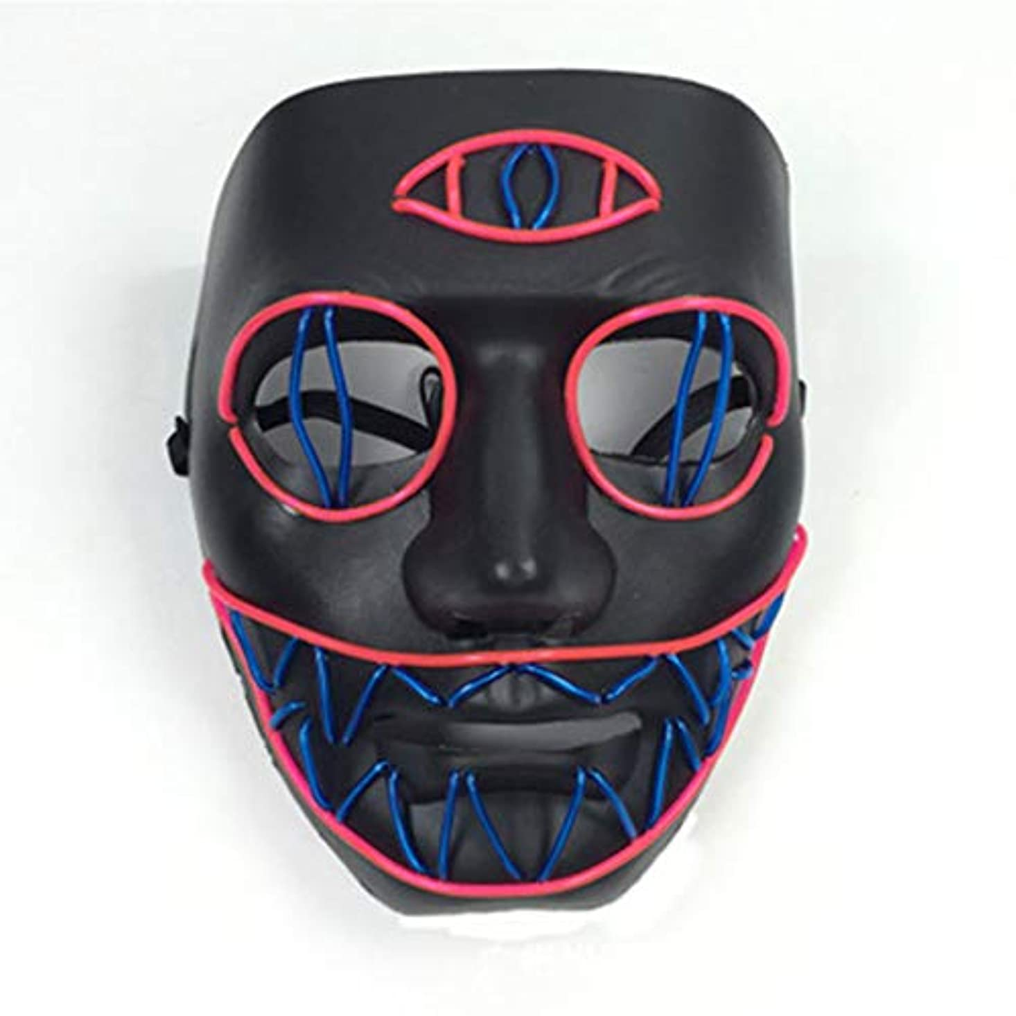 はげ不承認義務的LEDライト怖いマスク、ノベルティハロウィーンコスチュームパーティー不気味な小道具、安全なELワイヤーPVC DJマスクLED