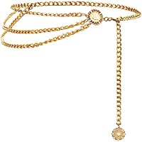 Glamorstar Multilayer Metal Waist Chain Dress Belts Metal Belt for Women