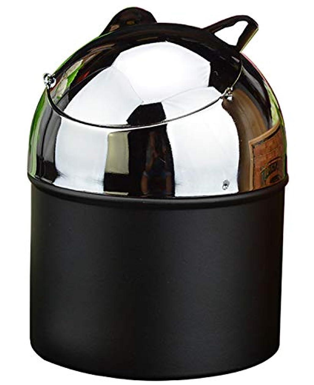 製作船上頑丈蓋付きのタバコの灰皿、屋外屋内ホームオフィスの使用のための金属隠し灰皿(黒)