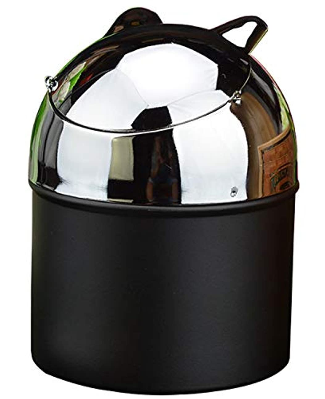 強いレスリングパテ蓋付きのタバコの灰皿、屋外屋内ホームオフィスの使用のための金属隠し灰皿(黒)