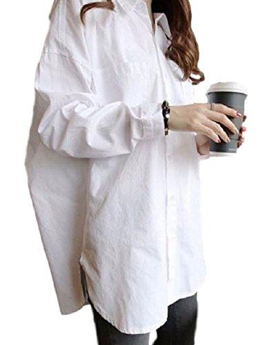 (クロスマーベリー) Crossmarbery レディース 長袖 長そで ナガソデ 無地 ムジ ロング 大きいサイズ おおきいサイズ アメカジ ビッグ ワイシャツ カットソー ブラウス オンナノコ ガールズ ギャル ミセス 女性 白 シロ ホワイト white ワークシャツ 綺麗め きれいめ ZIP ジッパー 格好いい カッコイイ キレイ目 お洒落 おしゃれ エレガント (Free)