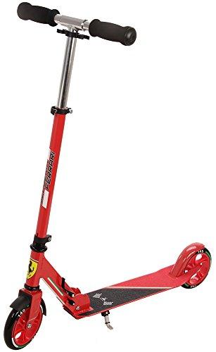 Ferrari(フェラーリ) 折りたたみキックスクーター 着脱式ハンドル スタンド付属 調整可能ハンドル(3段階) レッド 36750