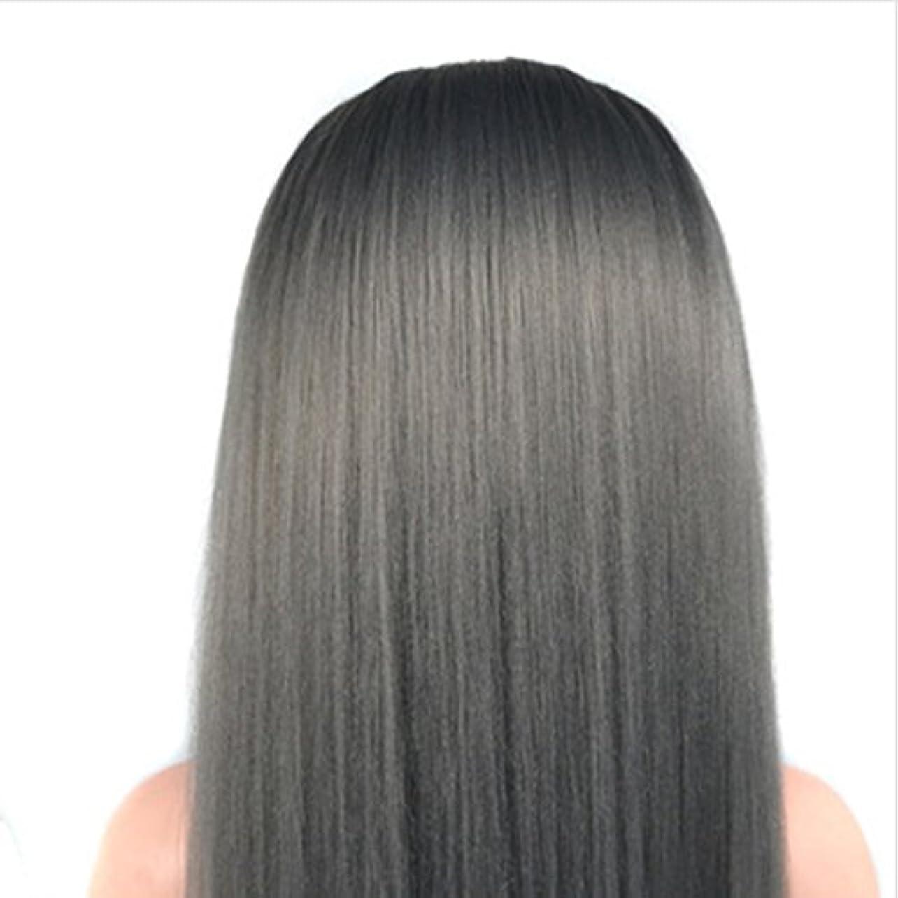 追放線形専門用語人間の毛髪が付いている60 cmのかつらの頭部の化粧品のマネキンのマネキンの訓練の頭部 ヘアケア (色 : Grandma gray)