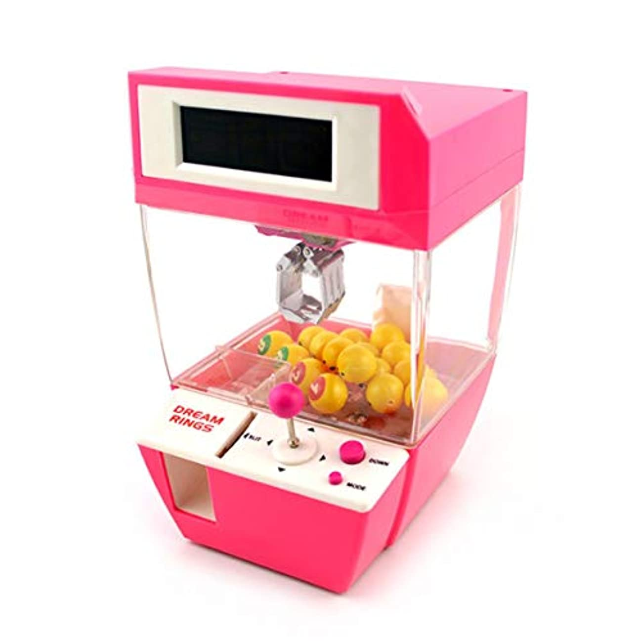 アラブ人満足させる飛躍コイン式キャンディーグラバーボールキャッチャーボードゲーム楽しいおもちゃミニクレーン爪機付き目覚まし時計機能付き子供ピンク-1サイズ