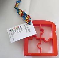 Autism Puzzle Piece Breadまたはトーストカッター、リボンでカード