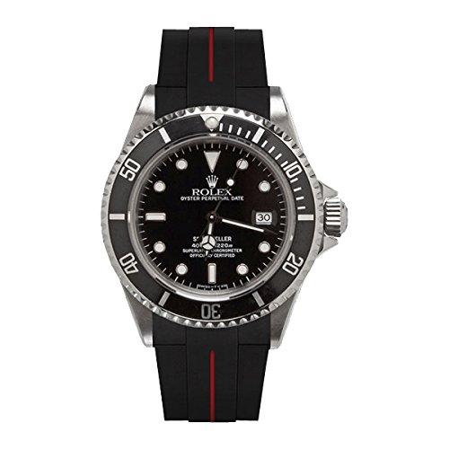 [ラバービー] RubberB ラバーベルト ROLEXシードゥエラー専用ラバーベルト(ROLEX純正バックルを使用)(ブラック×レッド)※時計は付属しません(Watch is not included)[並行輸入品]