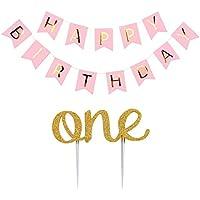 RaiFu ガーランド ケーキトッパー ONE ピンク Happy Birthday フラッグ ゴールド 両面 子供用 1歳 誕生日パーティー パーティーグッズ