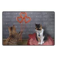 ZOMOY滑り止めエリアラグ猫ソーセージハート彼の恋人の床マットリビングルームのベッドルームダイニングキッチンカーペット玄関マット