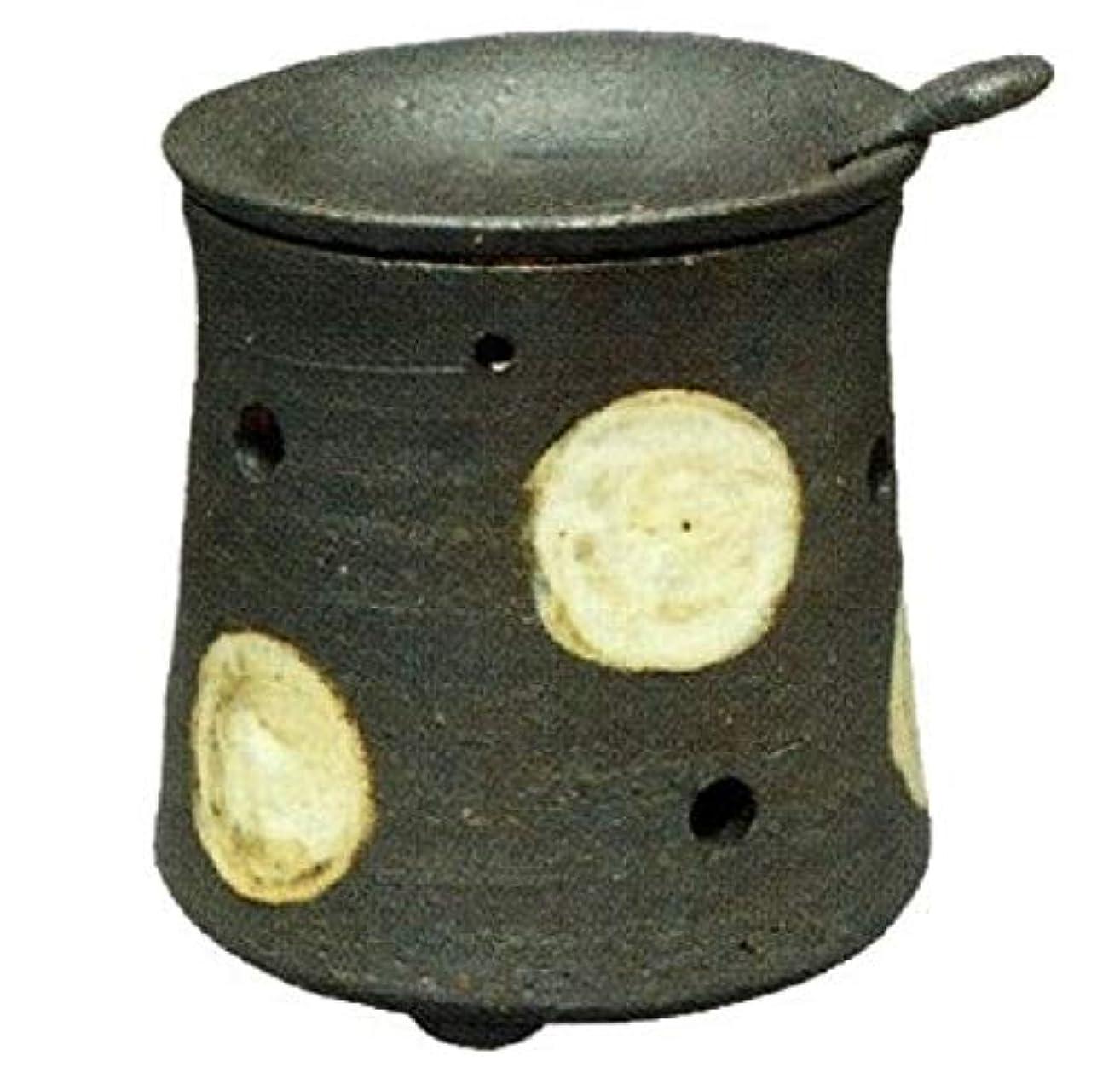 休日芝生普遍的な常滑焼?焜清 カ39-08 茶香炉 ドット 径9.5×9.5cm