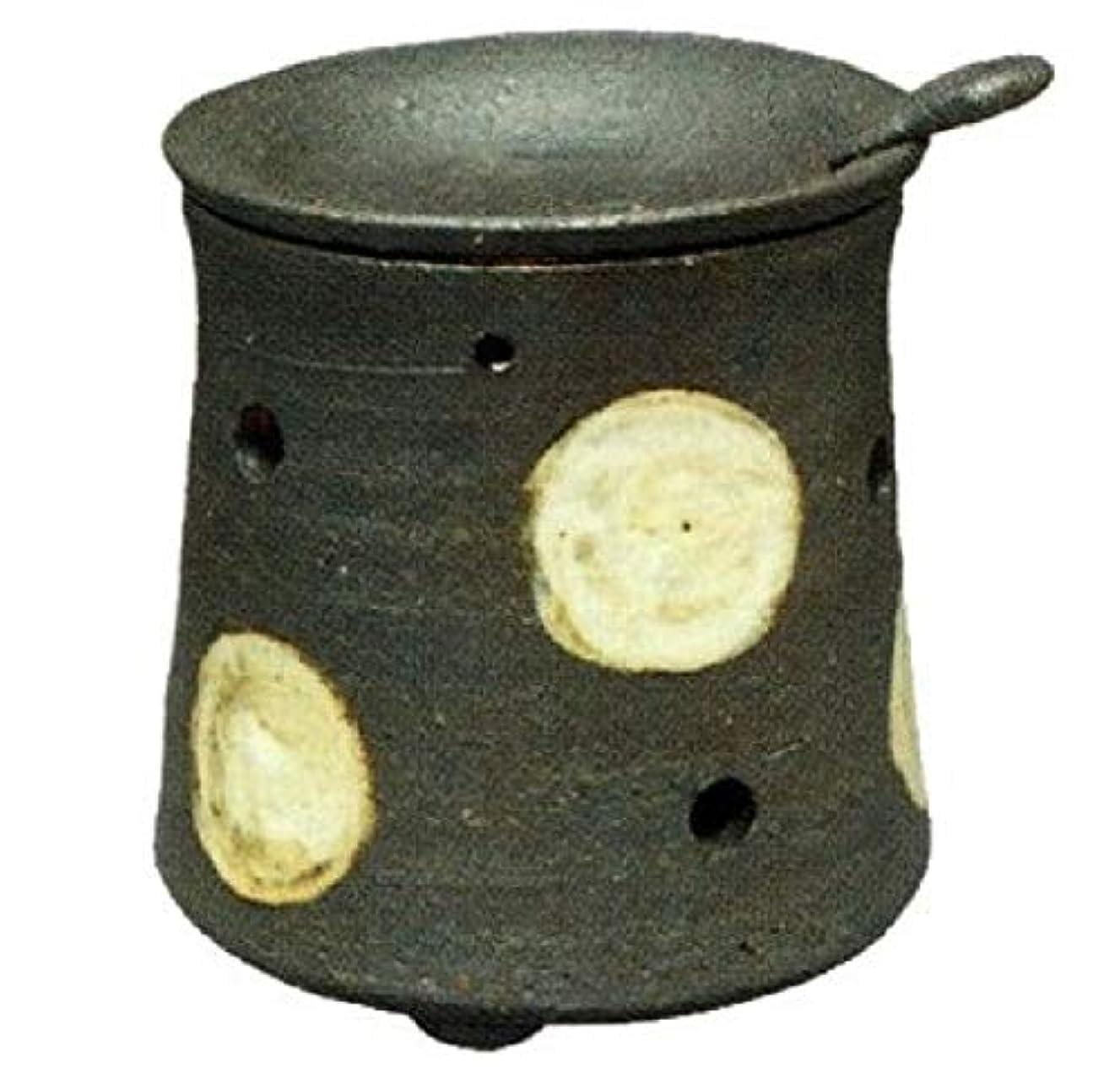 弾丸留まる頑固な常滑焼?焜清 カ39-08 茶香炉 ドット 径9.5×9.5cm