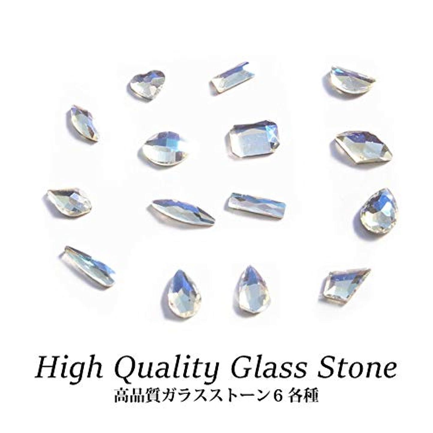 最も遠い暖かさ櫛ブルームーンカラーが魅惑的なクリスタルストーン! 高品質 ガラスストーン 6 各種 5個入り (1.ショートレクタングル 3×7mm)