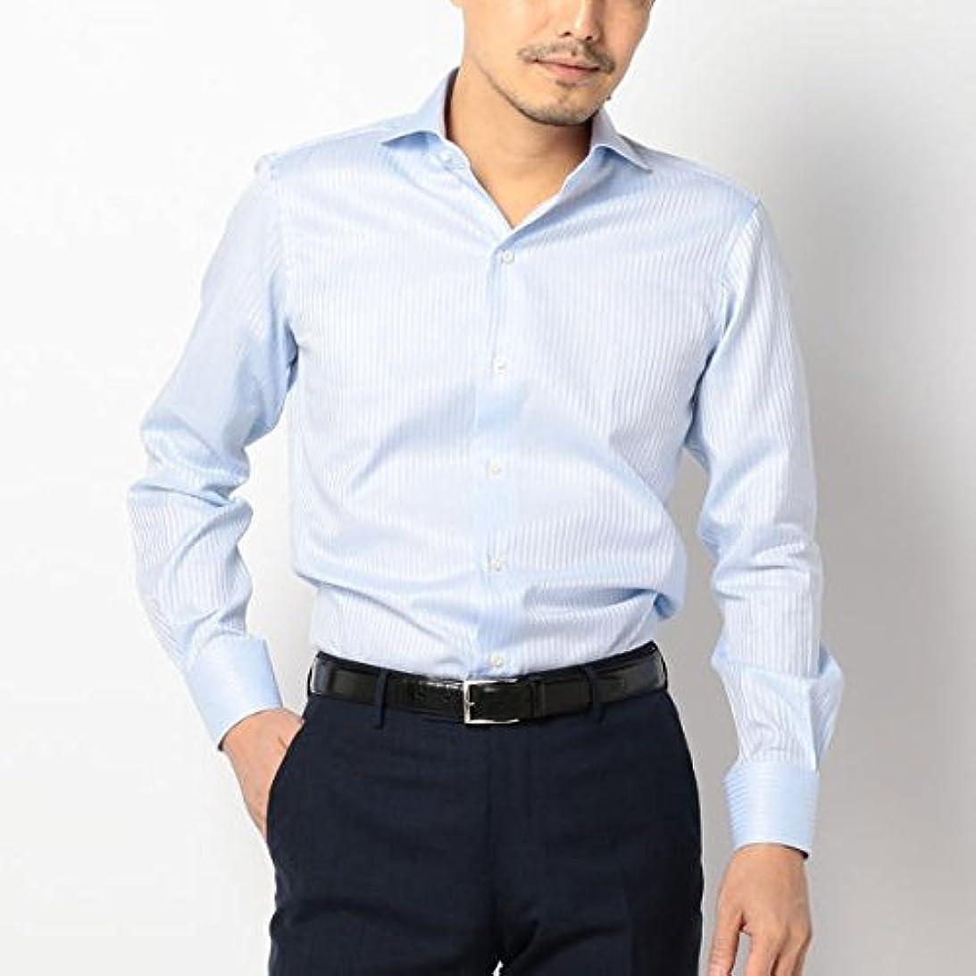 日の出遠足危機シップス(メンズ)(SHIPS) SD: ALBINI社製生地 ドビーストライプ ホリゾンタルカラーシャツ(ブルー)【ライトブルー/42】