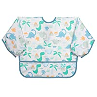 Bumkins Sleeved Baby Toddler Bib|Waterproof, Washable, Stain and Odor Resistant, 6 to 24 Mths+, Dinosaurs