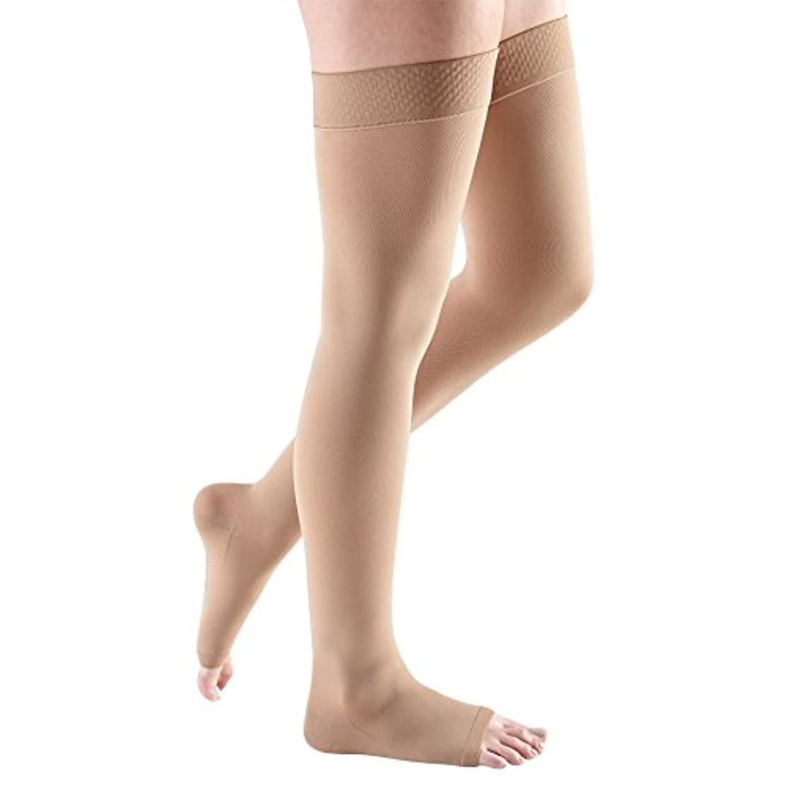 色経歴昼間Medi comfort Thigh High with Beaded Silicone Band 15-20mmHg Open Toe, IV, Natural by Medi