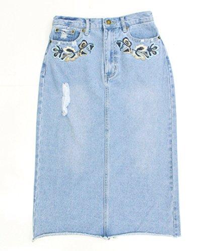 Settimissimo(セッティミッシモ) フラワー刺繍ダメージデニムスカート