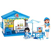 Playmarket Playfood、Mini Seafood Restaurant Toy Play Set with 2ポケットDolls for Kids Age 3 plus年古い、32ピース