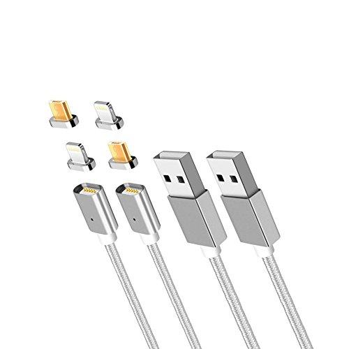 Animo(アニモ)2本 2M 2in1ケーブル マグネット式 lightning Micro USB 充電ケーブル 磁気吸収 データ通信転送ケーブル LED Light付きiPhone/Android両用に対応(シルバー-2本セット)