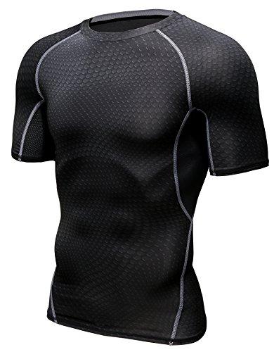HONENNA 男性用機能性肌着 着圧スポーツインナー 吸汗速乾 コンプレッションウェア 半袖 メンズ 加圧Tシャツ 姿勢矯正 猫背解消 (XL, ブラック)