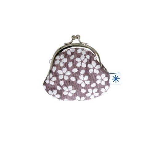 米織小紋・丸型がま口 (桜ネガ)