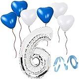 誕生日パーティー  飾り付けセット シルバー38センチ 数字(6) 天然ゴム 風船セット(ts-t06)