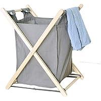大きい折り畳み可能なランドリーバスケットコットン布汚れたハンパーの家庭用衣類雑貨貯蔵用バスケットグレー