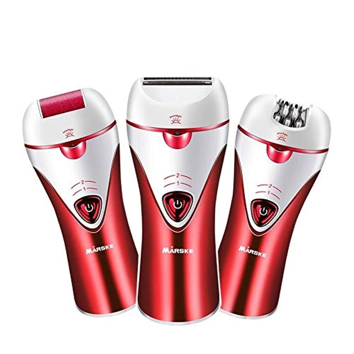 十分に補充化学薬品Trliy- 充電式電動脱毛器、女性のための痛みのない快適さスキンケア脱毛ツール浴室ウェットとドライ脱毛器 (Color : Red)