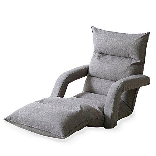 LOWYA (ロウヤ) 座椅子 長座椅子 肘置き付 低反発 リクライニング ラージサイズ 42段ギア ソファ生地 ハイバック 1人掛け おしゃれ グレー 新生活