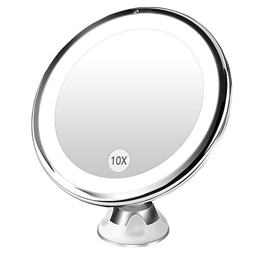 BESTOPE 10倍拡大鏡 LED化粧鏡 浴室鏡 卓上鏡 吸盤ロック付きLEDミラー 壁掛けメイクミラー 360度回転スタンドミラー 単三電池給電 USBなし
