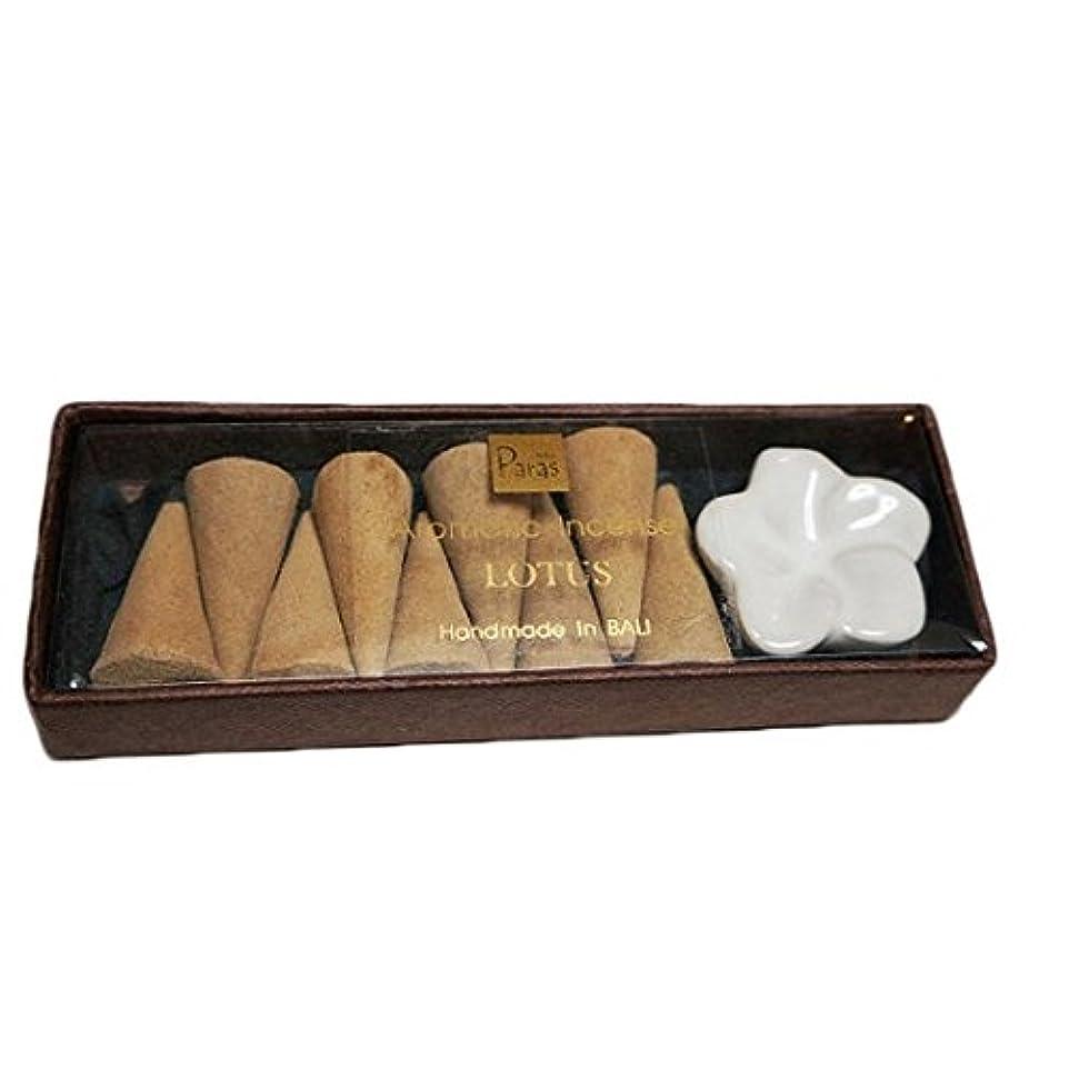 唇降下分解するロータス お香セット【トコパラス TOKO PARAS】バリ島 フランジパニの陶器のお香立て付き ナチュラルハンドメイドのお香