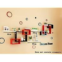 ALUP- ファッションPUコーティングウッドベースパネル壁棚/フローティングシェルフ/フラワーラック/本棚/、リビングルーム壁掛け装飾テレビの壁の壁装飾フレーム ( 色 : #4 )