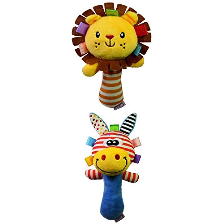 Fenteer 動物形のぬいぐるみ ハンドベルラトル 音鳴り 赤ちゃん玩具